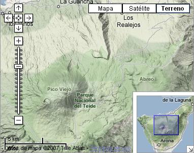 Google maps muestra el relieve orográfico