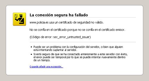 Problema con el certificado de seguridad de policia.es